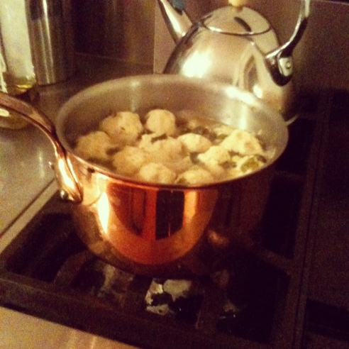 Matzo Ball Soup Simmering