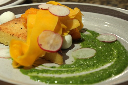 Kevin's Farinata with acorn and butternut squash, fresh chevre and chimichurri