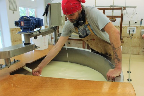 Matt Eagle adding the traditional rennet to the vat.